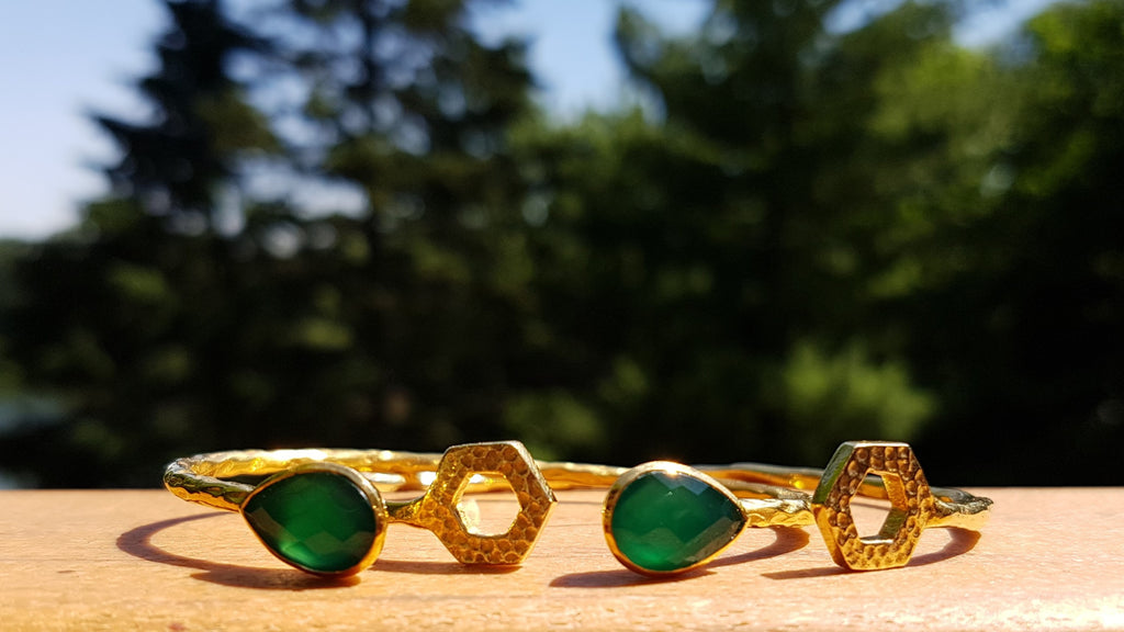 Salima Cuffs, duo, green onyx and hexagons by Thank You India