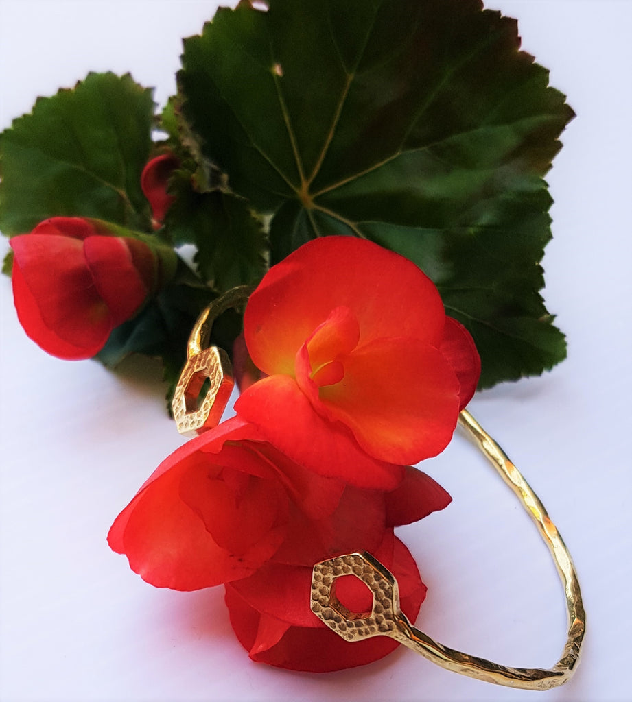Salima gold cuff with hammered hexagons at end by Thank You India