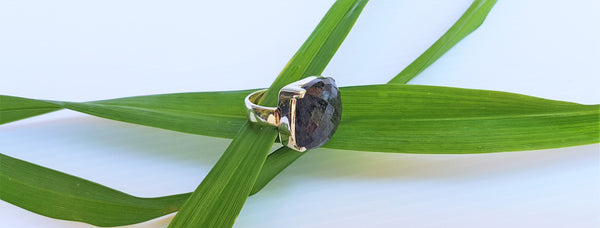Sterling silver Stephanie ring with black rutile stone by Thank You India