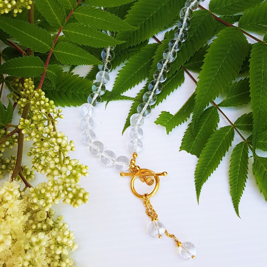 crystal quartz bead necklace with gold toggle clasp