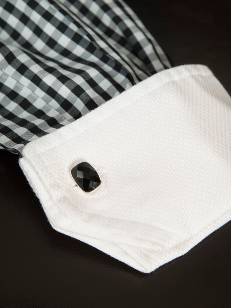 new 2018 black gemstone and sterling cufflink on male dress shirt
