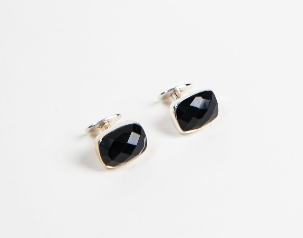 sterling silver men's Cufflinks with faceted black onyx gemstones and round Silver backing from thank you India's 2018 collection