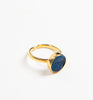 gold plated adjustable ring with round blue crystal geode setting ethically made in India