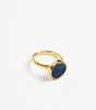 one-size-fits-all gold vermeil ring with circular druse gemstone