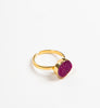 bright pink druzy set on gold ring