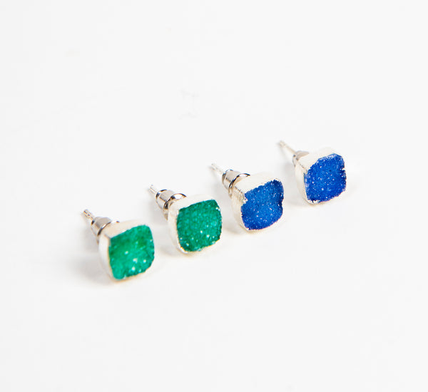 ethically made designer stud earrings in Sterling Silver with blue and green druzy stones
