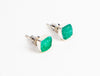 side shot of sterling silver and green druzy studs