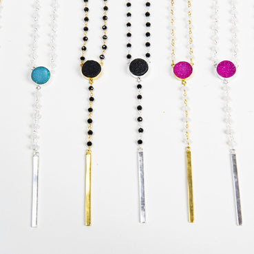 eight ethically made colourful druzy long necklaces in both sterling silver and gold vermeil