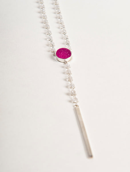 ethically made sterling silver and moonstone necklace with round pink druzy stone