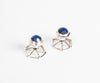 Side shot of handsome cuff links with lapis lazuli setting in 925 silver