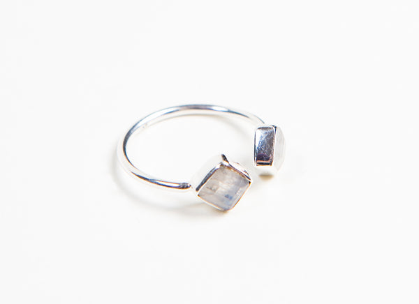 Ethically designed Fashion stacking ring with diamond shaped semi-Precious Moonstone