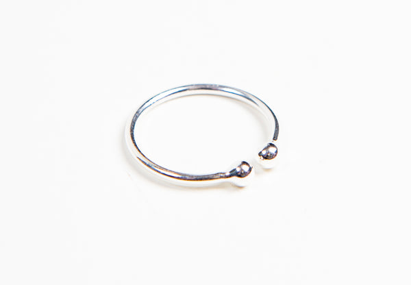 Sterling Silver adjustable open stacking Ring with round sterling Silver balls on the ends