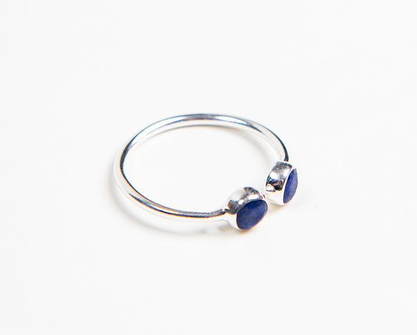 Ethically designed Fashion stacking ring with round semi-Precious lapis lazuli stones
