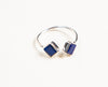 adjustable open 925 ring with square shaped lapis lazuli settings