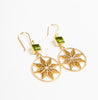 set of gold plated Sheppard's hook earrings with green stones and geometric design