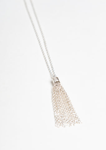 ethically made designer long sterling silver necklace with tassel on the end