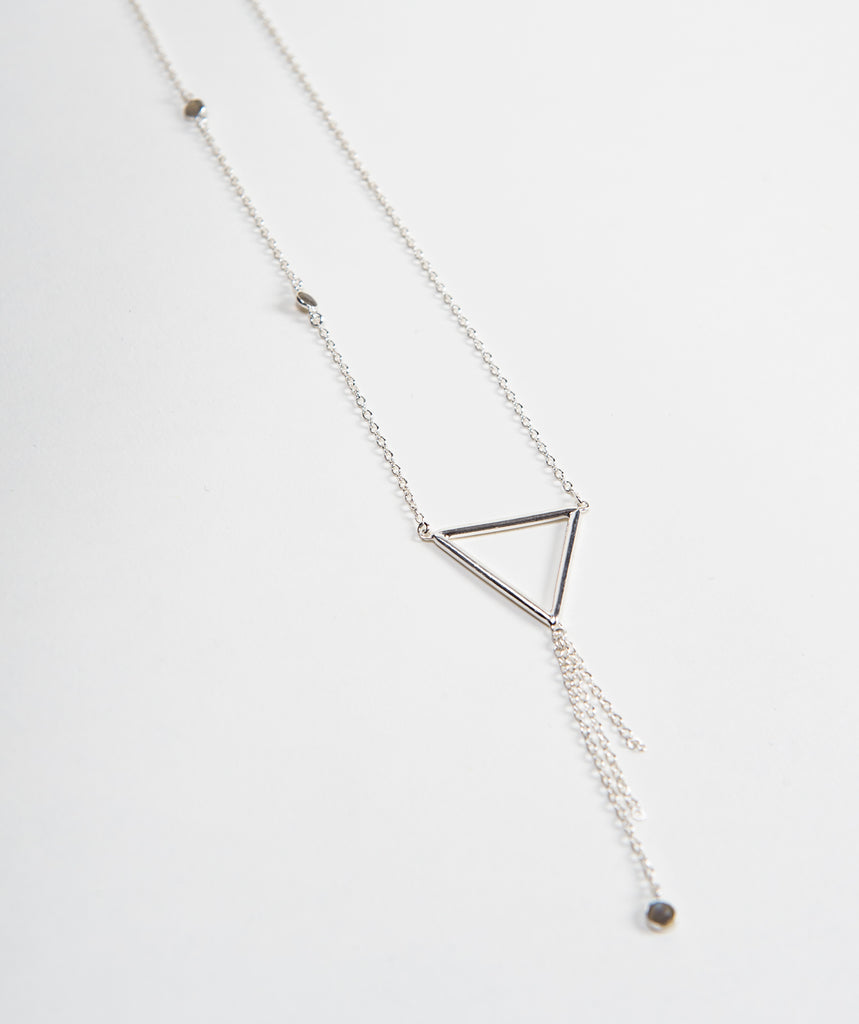 925 silver chain with labradorite gemstones triangular pendant and tassel by Thank You India