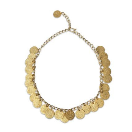 gold hammered coin necklace by Thank You India