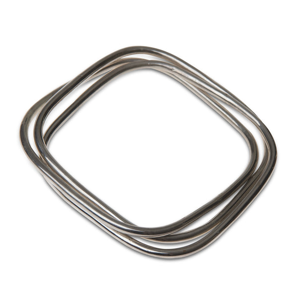 set of three rectangluar sterling silver bangles