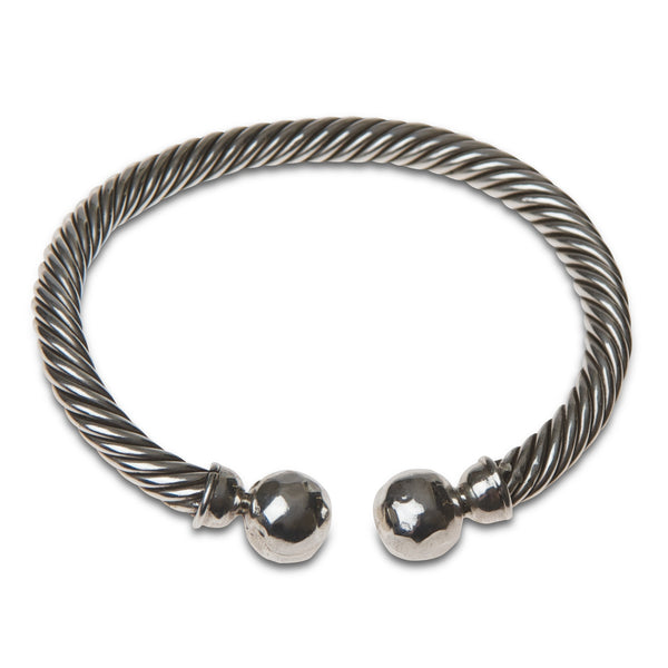 Silver braided bangle cuff by Thank You India
