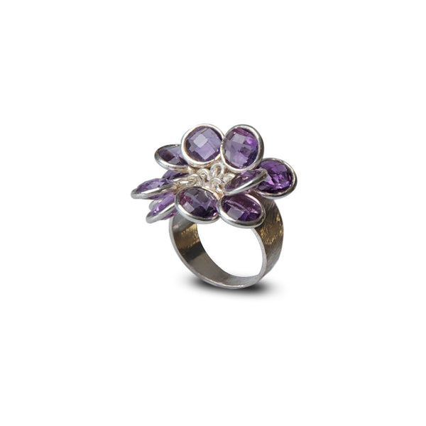amethyst multi stone bloom ring for Thank You India