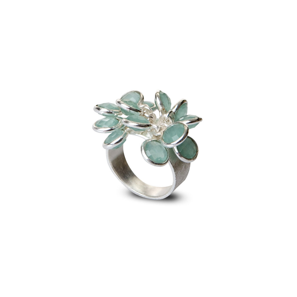 green chalcedony multi stone bloom ring for Thank You India