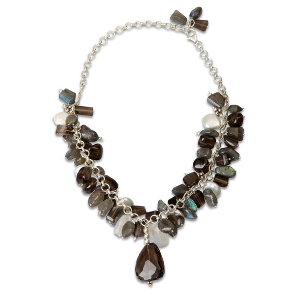 Smoky Quartz, Moonstone, Pearl and Labradorite Necklace by Thank You India
