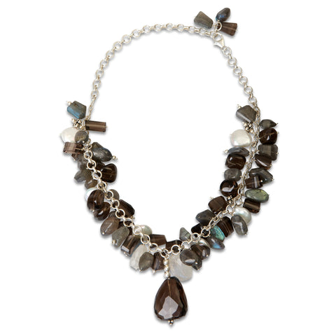 Smoky Quartz, Moonstone and Labroderite Necklace