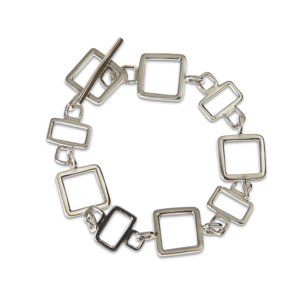 Gale sterling silver square link bracelet in white background by Thank You India