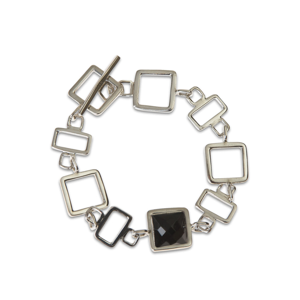 Gale sterling silver square link with black onyx stone, bracelet by Thank You for India