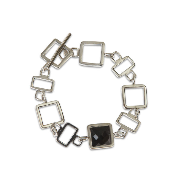 Gale sterling silver square link with black onyx stone, bracelet for TYI