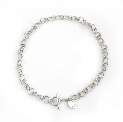 "silver link 20"" necklace with a signature charm, TYI"