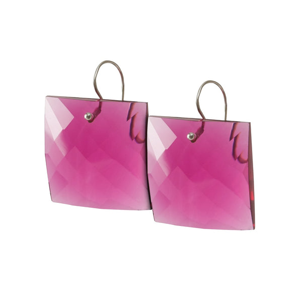 faceted bright pink Lucite hook earrings from Thank You India fresh and fun collection