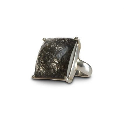 Sterling silver ring with black rutile stone