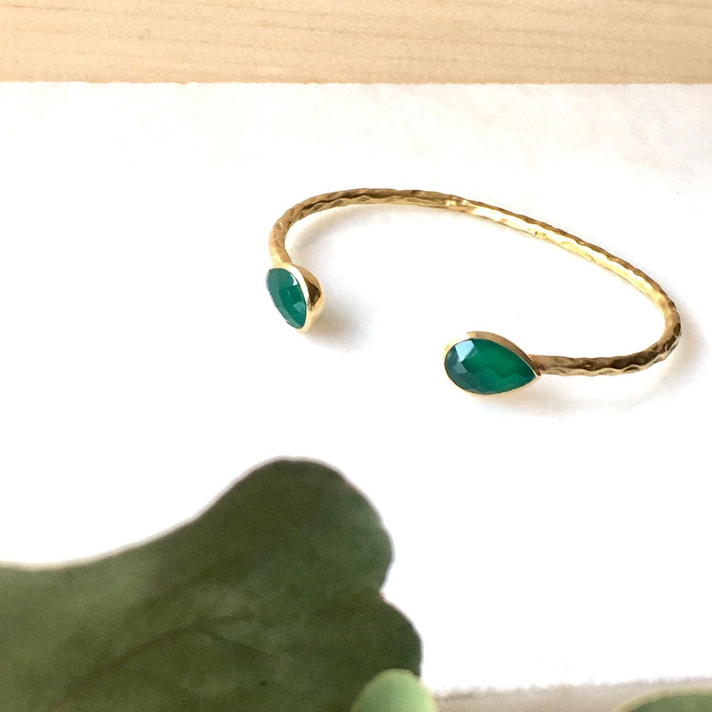 Salima Gold Cuffs in Green Onyx by Thank You India