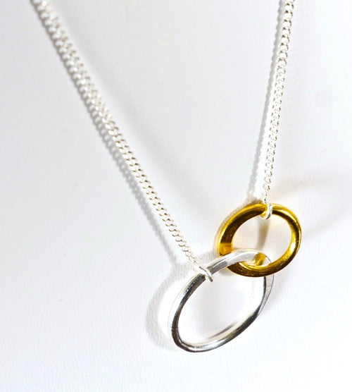 Long Necklace in Sterling Silver and Gold Vermeil Knot designed by Thank You India