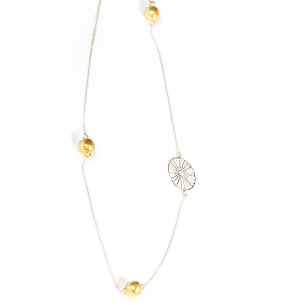 "Sterling Silver & 22k Gold Vermeil Long 36"" Necklace with a Wheel pendant designed for Thank You India"