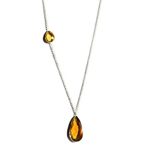 Close up view of Large Citrine Pendant necklace by Thank You India