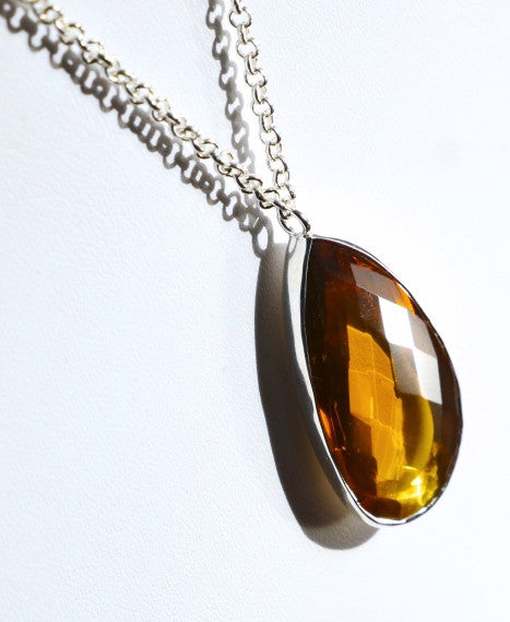 Large Citrine Pendant necklace by Thank You India