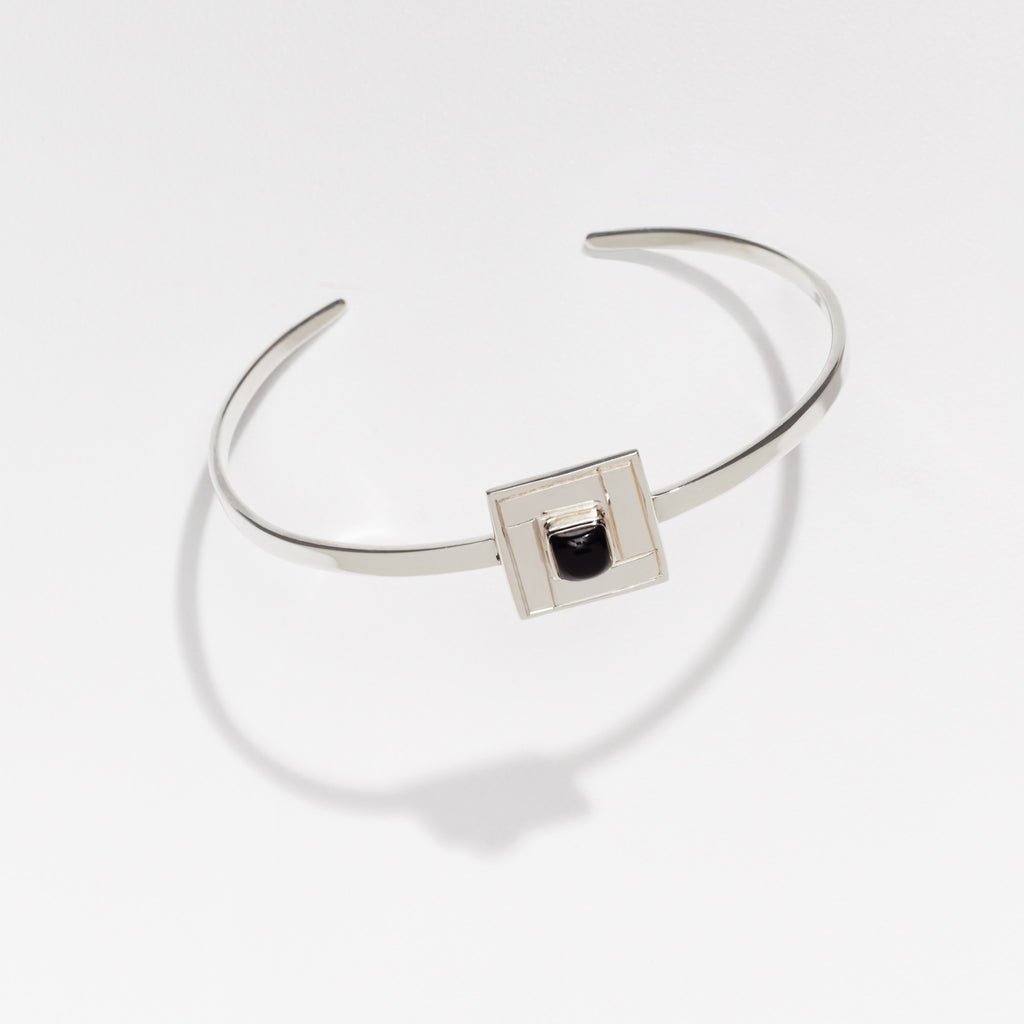 Silver TILE Cuff in Black Onyx Detail - OAG Collection by Thank you India