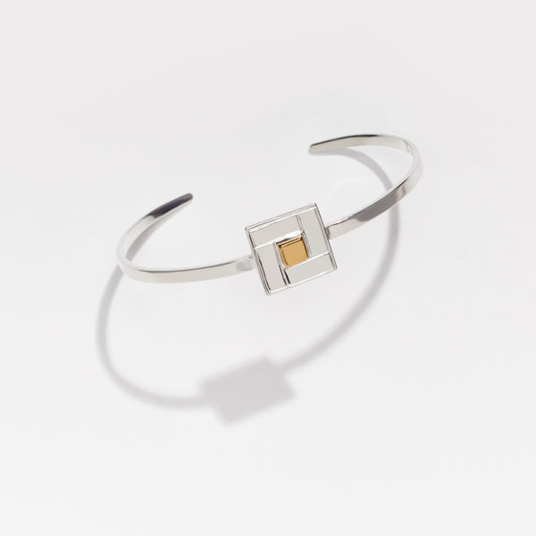 Silver TILE Cuff in Gold Detail - OAG Collection by Thank you India
