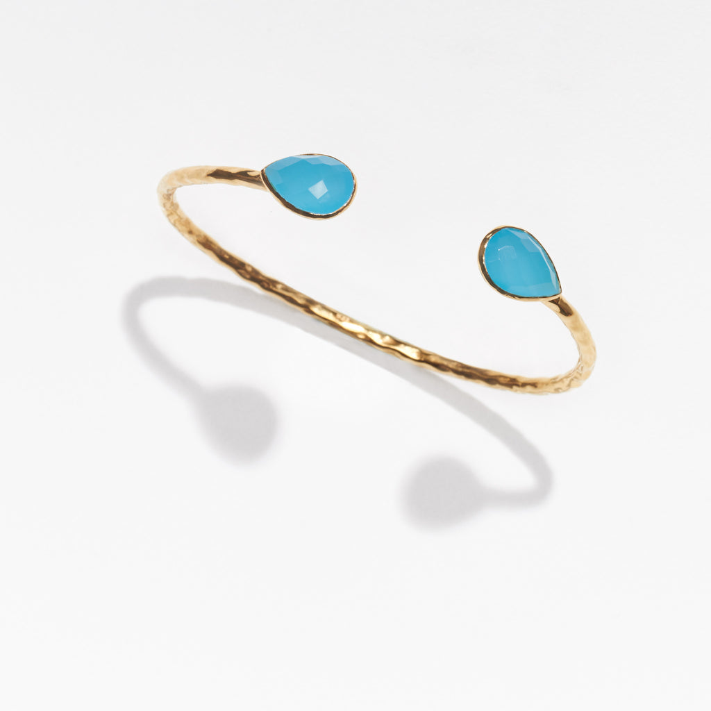 Salima gold cuff with blue chalcedony beads at ends by Thank You India