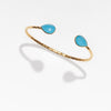 Salima gold cuff with blue chalcedony beads at end by Thank You India
