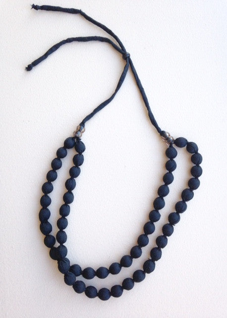 black fabric bead double strand adjustable necklace for TYI