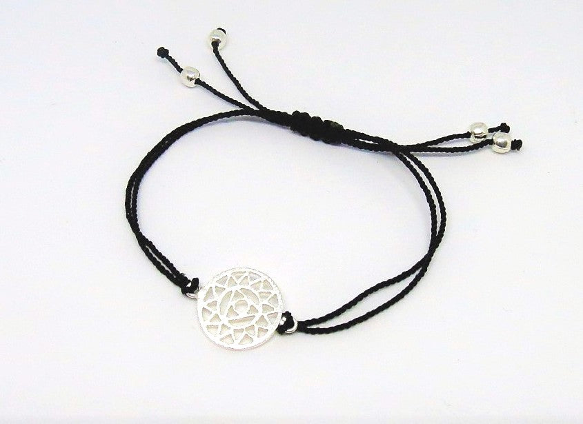 Black Silk Sterling Silver Throat Chakra Bracelet Ethical Slow Fashion