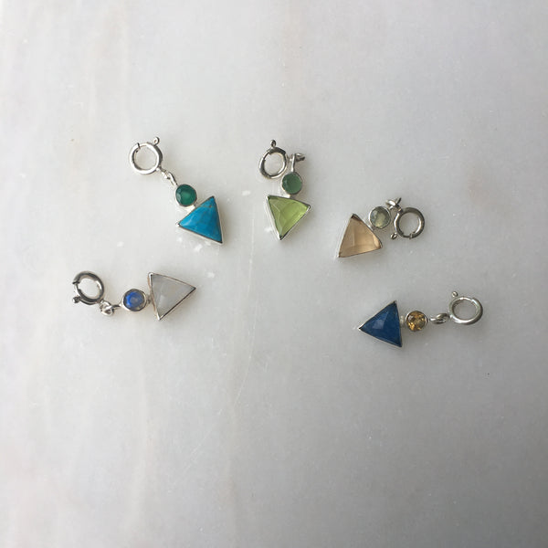 A Collection  of 4 Triangular Charms for Boys in Labradorite & Moonstone, Green Onyx & Turquoise, Green Onyx & Turquoise Yellow Chalcedony & Blue Quartz, Green Chalcedony & Hydro Peridot, and Prehnite & Citrine