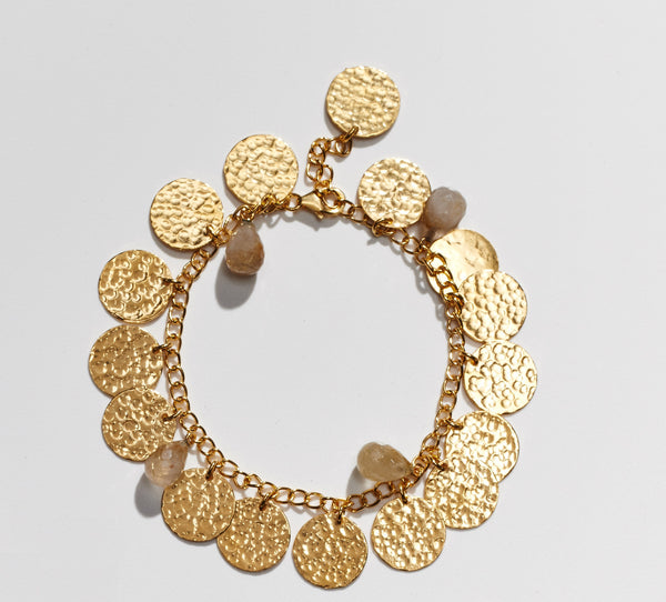 Hammered gold coin bracelets with Rutile stones