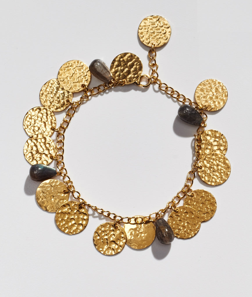 Hammered gold coin bracelets with Labroderite stones