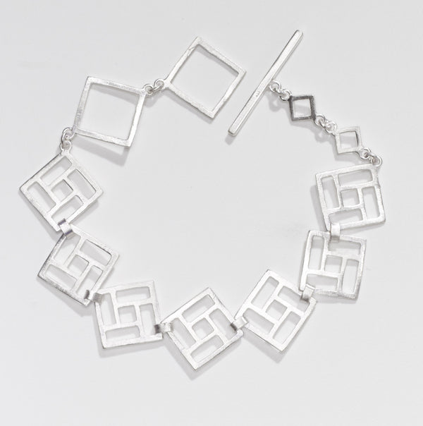 Open square link silver bracelet for OAG by Thank You India