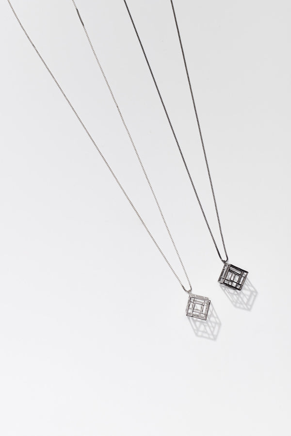 Cube on long Sterling silver and oxidized silver chain for OAG Collection by Thank You India